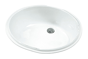 "Gerber 0012770F Luxoval Petite Undercounter Lav with Front Overflow 18.25""X15"" White"
