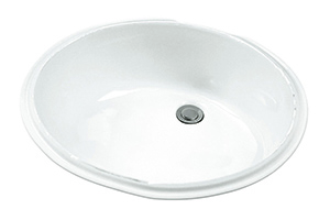 Gerber - UNDERMNT LAVATORY FAUCET 19.25-inch X15.75-inch OVAL WHT