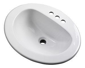 Gerber - MAXWELL S-RIM LAVATORY FAUCET 20-inch X17-inch OVAL 4-inch C WHT TRAPEZOID CTN