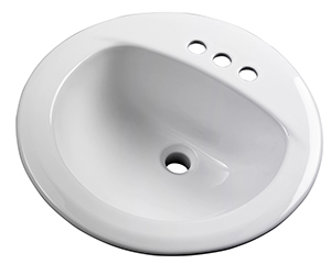 Gerber - MAXWELL S-RIM LAVATORY FAUCET 19-inch ROUND 4-inch C WHT TRAPEZOID CTN