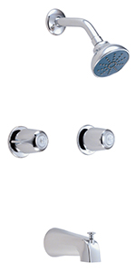 Gerber 48-720-83 Gerber Classics Two Handle Sliding Sleeve Escutcheon Tub & Shower Fitting with Threaded Diverter Spout 2.0gpm Chrome
