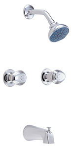 Gerber 58-400-82 Gerber Hardwater Two Handle Threaded Escutcheon Tub & Shower Fitting with Slip Diverter Spout 2.0gpm Chrome