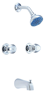 Gerber 58-420-82 Gerber Hardwater Two Handle Sliding Sleeve Escutcheon Tub & Shower Fitting with Slip Diverter Spout 2.0gpm Chrome