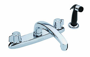Gerber 0742216 - 2H Kitchen Faucet, Metal Fluted Handle, Casting Spout & Body, W/Spray, Deck Mount