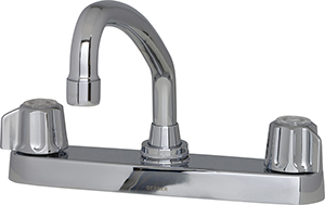 Gerber 0742426 - 2H Kitchen Faucet, Metal Fluted Handle, Casting Underbody, Tubular Spout, Less Spray, Deck Mount