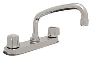 Gerber 0742526 - 2H Kitchen Faucet, Metal Fluted Handle, Casting Underbody, Tubular Spout, W/Spray, Deck Mount