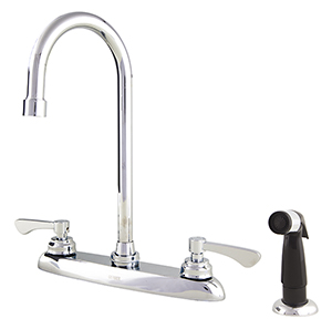 Gerber C4-44-779 Commercial Two Handle 4 Hole Kitchen Faucet, Spray