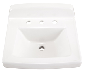 "Gerber NH-12-658 Monticello II Wall Hung Lav 20""x18"" 8""CC Sealed Overflow White"