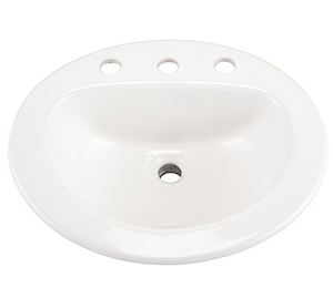 "Gerber NH-12-838-CH Maxwell Oval 8"" Center Self-Rimming Hygienic Basin"